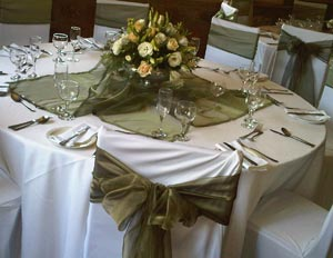 Table Centrepiece, Overlay and Chair Tie backs