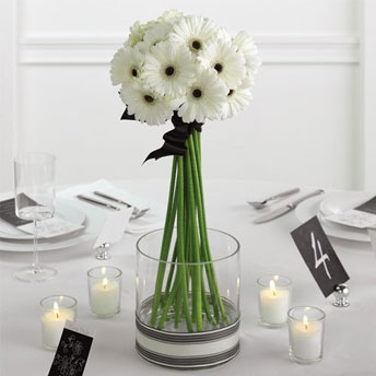 Gerbera Daisy Wedding Centrepiece in White