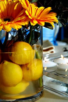 Fruit Centerpieces - Gerberas & Lemons