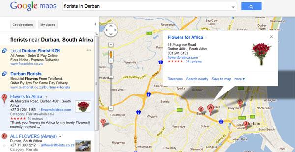 Local Florists on Google Maps