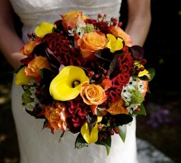 Yellow and Crimson Bridal Bouquet