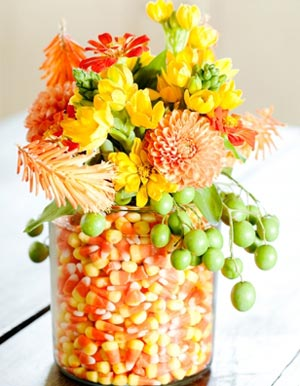 Halloween Party Ideas - Candy Corn Vase