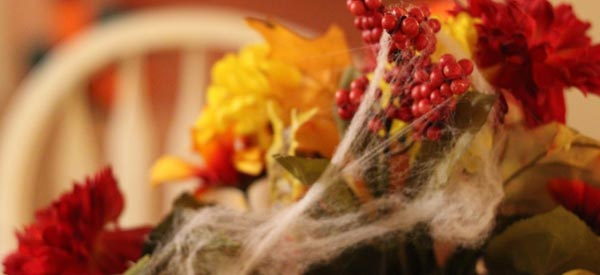 Halloween Ideas - Spider Web Flower Arrangement
