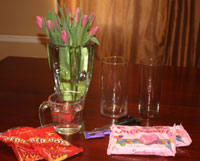 Valentines Day Flower & Candy Arrangement - Step 1