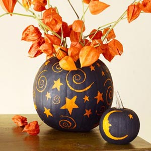 pumpkin vase stars and flowers